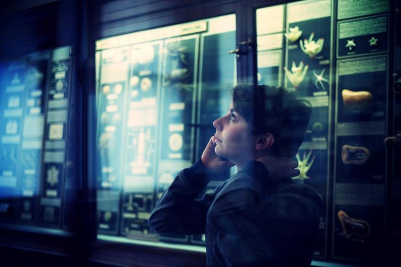 An audience member receives a phone call at the Royal Albert Memorial Museum