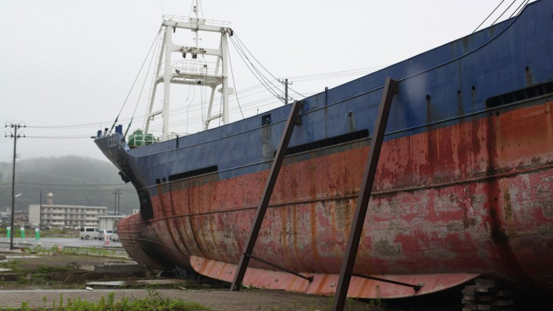A freighter pushed inland by the tsunami