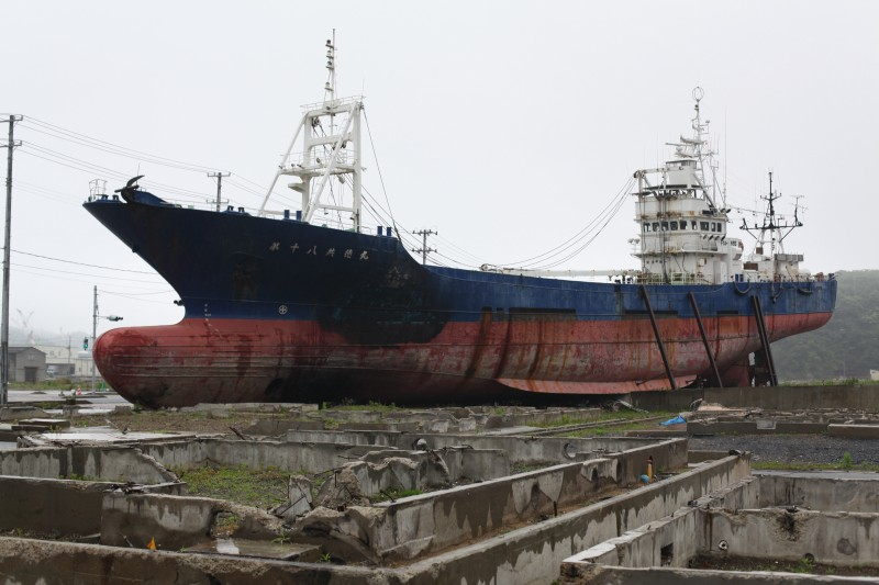 A freighter washed inland by the tsunami