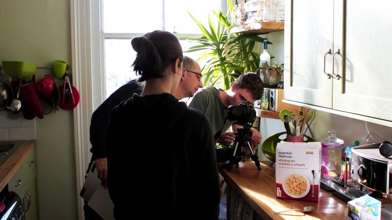 Cast and crew filming the Karen app