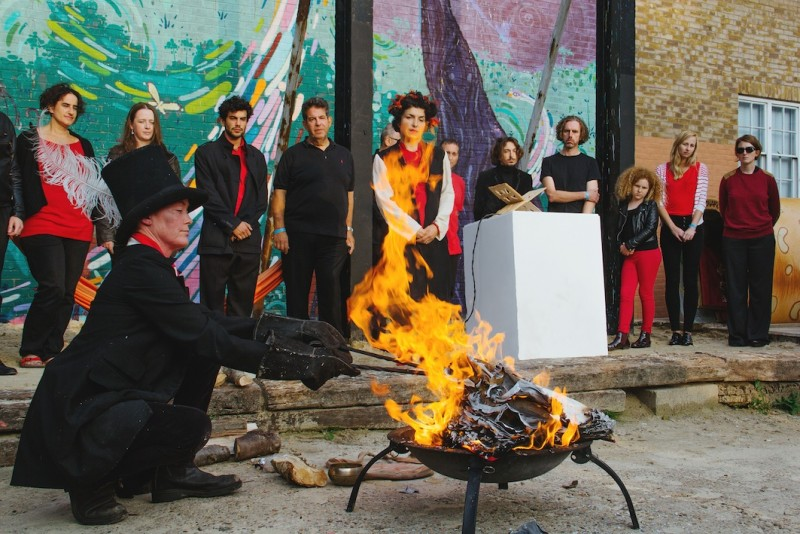 Resident Artist Alinah Azadeh. Burning The Books (VII), photo by: Cristina Pedreira / courtesy Urban Dialogues