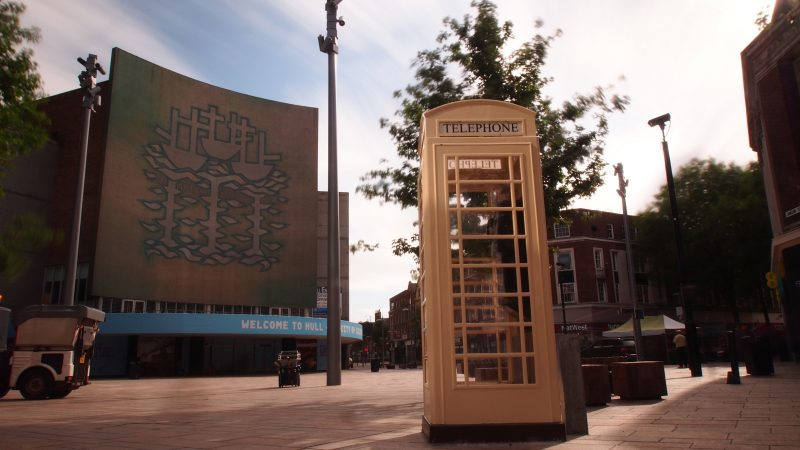 White Phone box in Hull