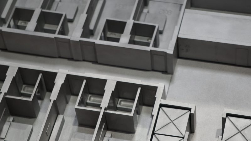 Close up of model hotel room