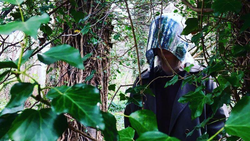 Violeta Marchenkova trials a prototype mirrored helmet in the woods.