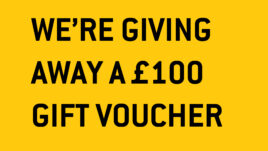 Yellow square with black text that reads in capital letters: we're giving away a £100 gift voucher. And you get to choose how to spend it. Fancy winner? Complete our audience survey now.